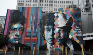 Bob Dylan mural in downtown Minneapolis. Photo by Weston Mackinnon